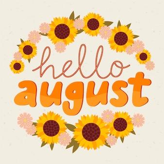 Handgezeichnete florale august-schriftzug Premium Vektoren