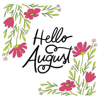 Handgezeichnete florale august-schriftzug