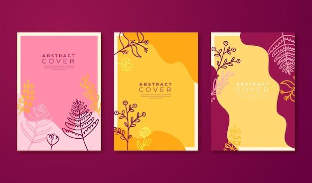 Handgezeichnete florale cover-kollektion