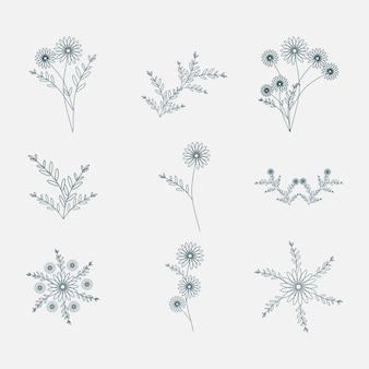 Handgezeichnete florale dekorative elemente