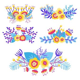 Handgezeichnete florale elemente und blumensträuße
