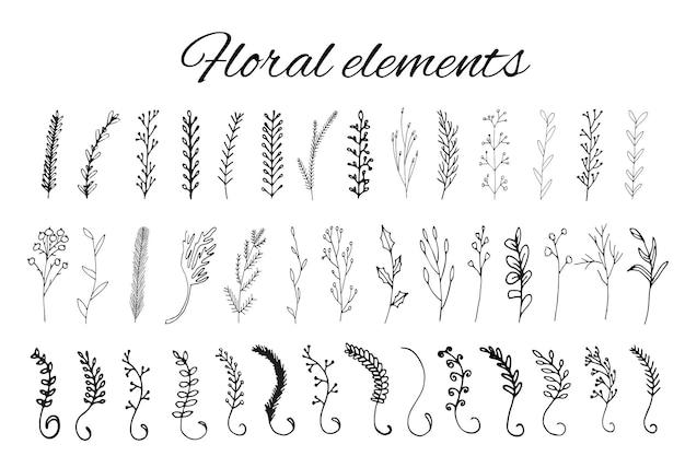 Handgezeichnete florale logoelemente. entwerfen sie ihr eigenes perfektes logo. vorlagen für logos. logo-design auf hintergrund isoliert und einfach zu bedienen. vektor-illustration