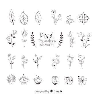 Handgezeichnete florale ornamentale elemente