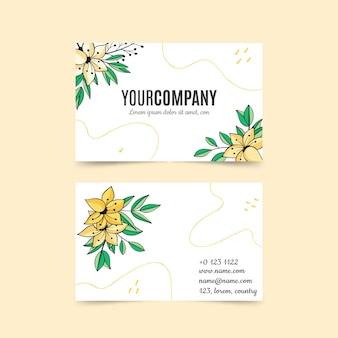 Handgezeichnete florale visitenkartenvorlage