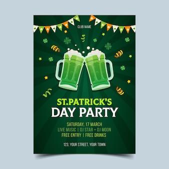 Handgezeichnete flyer für st. patrick's day feier