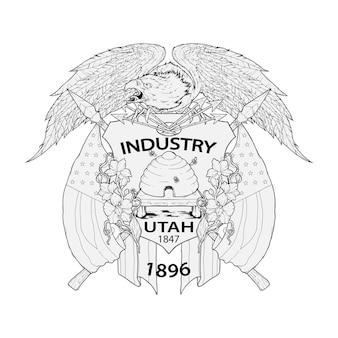 Handgezeichnete fortgeschrittene utah-flaggen-vektor-illustration