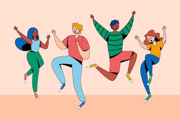 Handgezeichnete freunde mit bunten kleidern springen