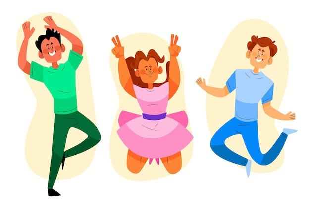 Handgezeichnete fröhliche menschen, die zusammen springen