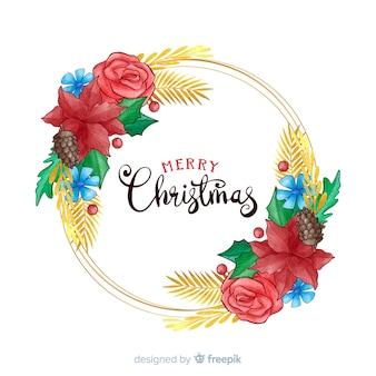 Handgezeichnete frohe weihnachten mit blumen
