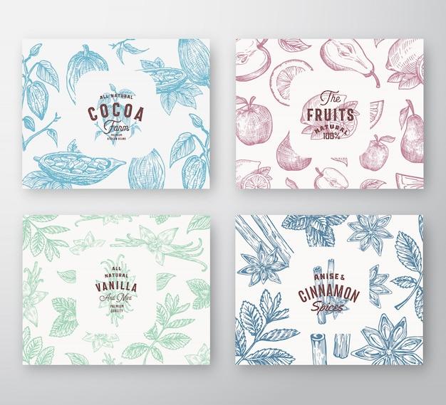 Handgezeichnete früchte, kakaobohnen, minze, nüsse und gewürze karten set. abstrakte skizzenmuster-hintergrund-sammlung mit klassischer retro-typografie und vintage-etiketten.