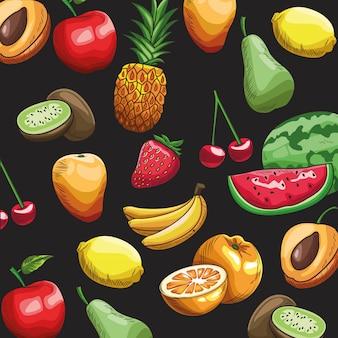 Handgezeichnete früchte tapete