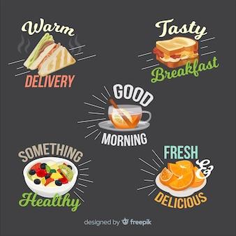 Handgezeichnete frühstück aufkleber kollektion