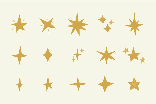 Handgezeichnete funkelnde sterne sammlung