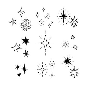 Handgezeichnete funkelnde sternsammlung