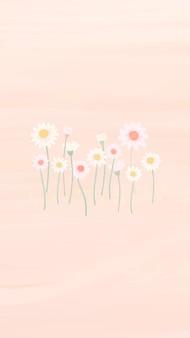 Handgezeichnete gänseblümchen-handy-wallpaper