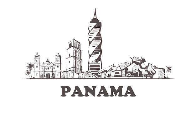 Handgezeichnete gebäude von panama