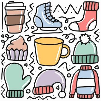 Handgezeichnete gekritzel der winterkleidungskollektion mit ikonen und gestaltungselementen