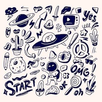 Handgezeichnete gekritzel-farbelemente des handgezeichneten gekritzel-satzes der abstrakten gekritzelikonen-sammlung