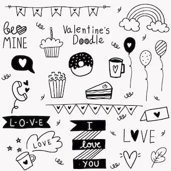Handgezeichnete gekritzel valentinstag