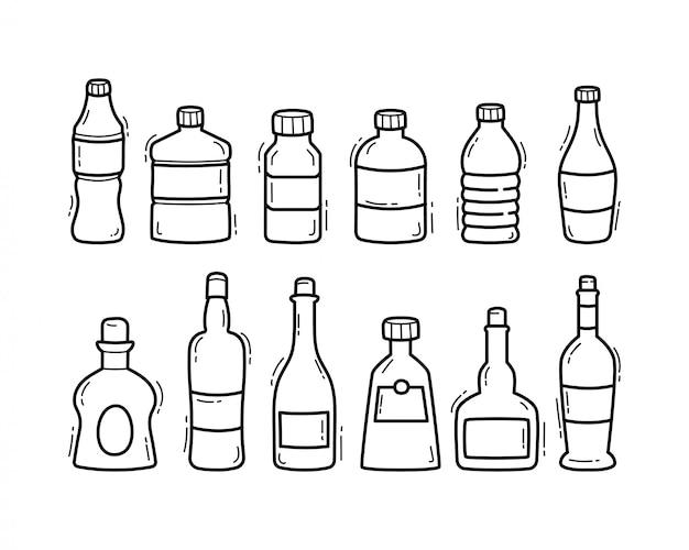 Handgezeichnete gekritzelillustration der flaschenlinie