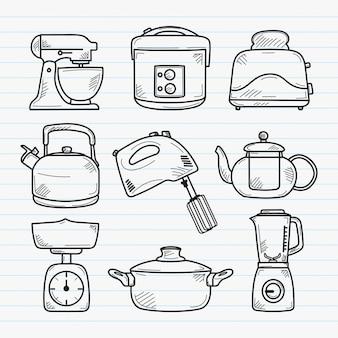 Handgezeichnete gekritzelillustration der küche