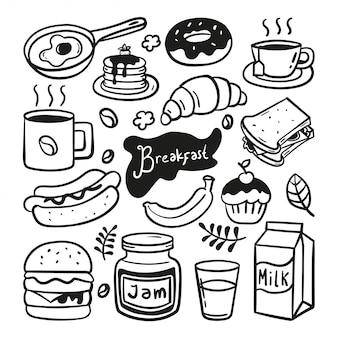 Handgezeichnete gekritzelillustration des frühstücks