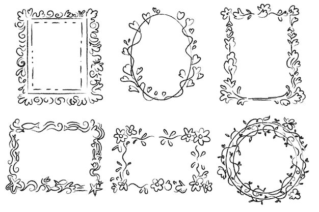 Handgezeichnete gekritzelrahmensammlung