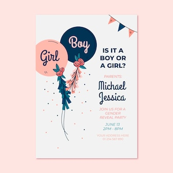 Handgezeichnete gender-enthüllungs-einladung