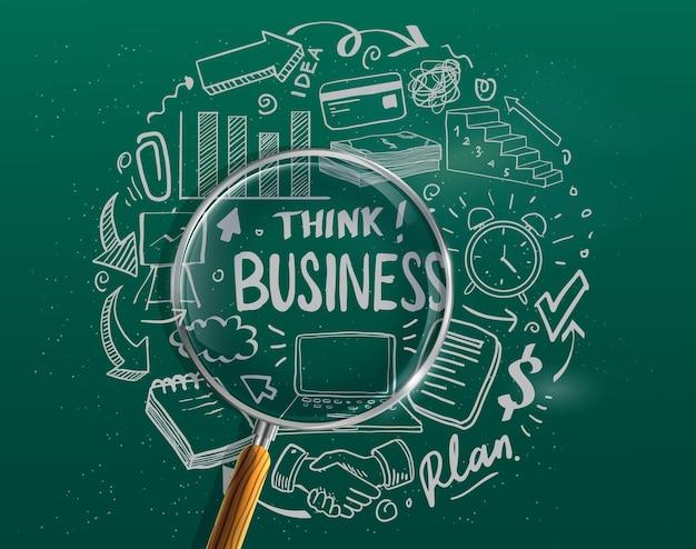 Handgezeichnete geschäftsikone und viele infografik-designelemente und mock-up. ideal für teamwork-ideen, brainstorming-sitzungen und allgemeine businessplan-präsentationen.