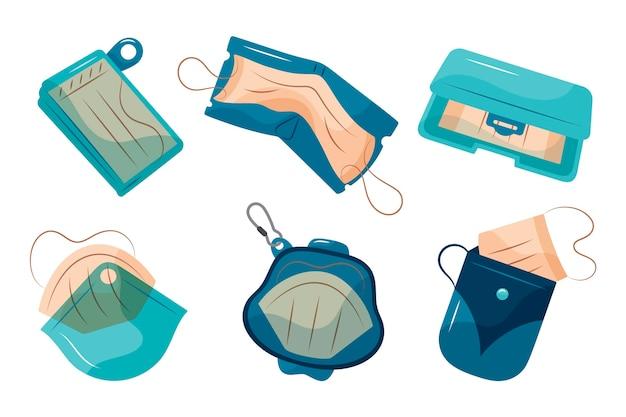 Handgezeichnete gesichtsmasken-aufbewahrungskoffer-sammlung