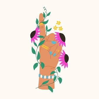 Handgezeichnete geste mit blumen und blättern trendige flache komposition mit hand haltende blume