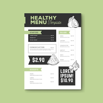 Handgezeichnete gesunde lebensmittel-menüvorlage