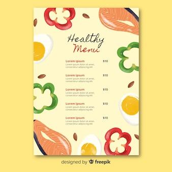 Handgezeichnete gesunde menüvorlage