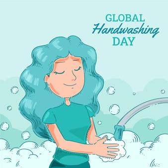Handgezeichnete globale illustration zum tag des händewaschens