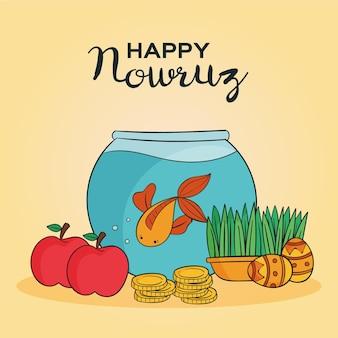 Handgezeichnete glückliche nowruz illustration mit goldfischglas und äpfeln
