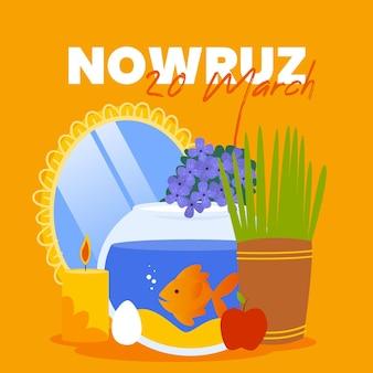 Handgezeichnete glückliche nowruz illustration mit goldfischglas und spiegel Kostenlosen Vektoren