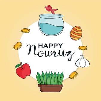Handgezeichnete glückliche nowruz illustration mit goldfischglas und sprossen