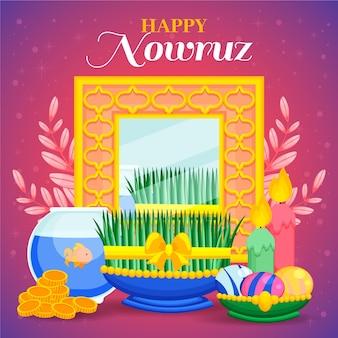 Handgezeichnete glückliche nowruz illustration mit spiegel und goldfischglas