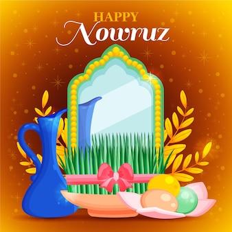 Handgezeichnete glückliche nowruz illustration mit spiegel