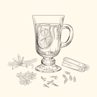 Handgezeichnete glühwein-vektor-illustration. glühweinglas, orange, zimtstangen, nelken, vanille, anis, kardamom, ingwer gravurstil