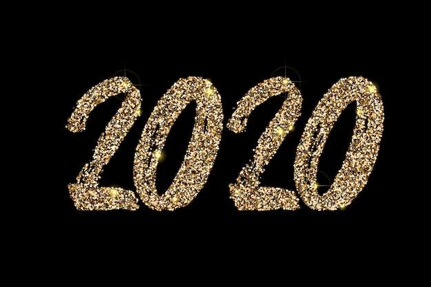Handgezeichnete goldene glitzer-beschriftung 2020