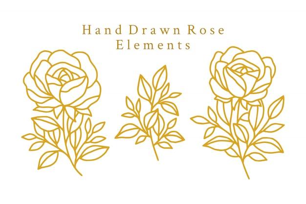 Handgezeichnete goldene rosenlogoelemente