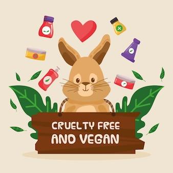 Handgezeichnete grausamkeitsfreie und vegane illustration