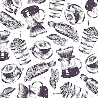 Handgezeichnete gravierte coffeeshop-doodles