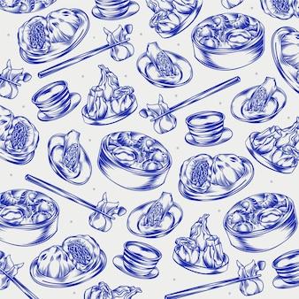 Handgezeichnete gravierte restaurantkritzeleien