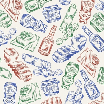 Handgezeichnete gravierte supermarkt-doodles