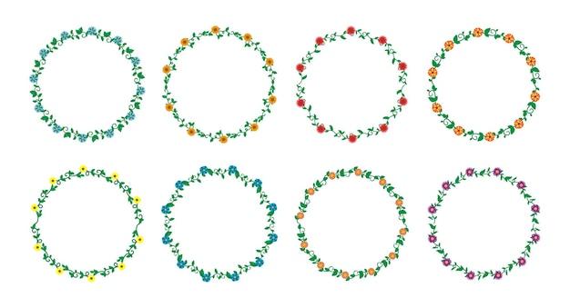 Handgezeichnete grenzen elemente set sammlung blumen wirbel ornament vektor