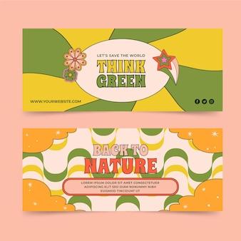 Handgezeichnete groovige psychedelische banner-vorlage
