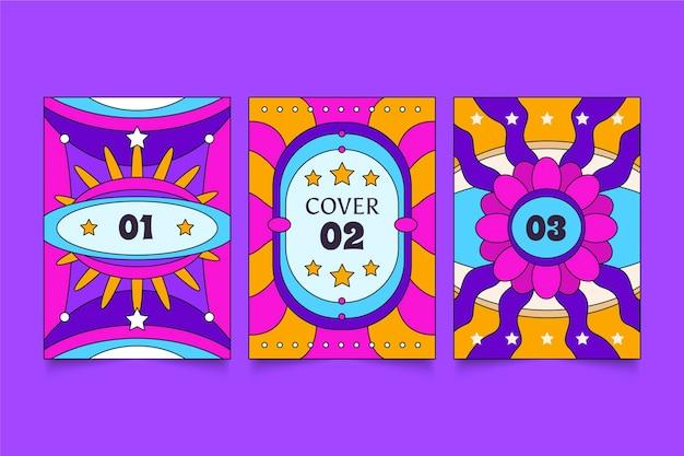 Handgezeichnete groovige psychedelische cover-kollektion