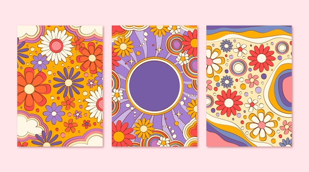 Handgezeichnete groovige psychedelische cover